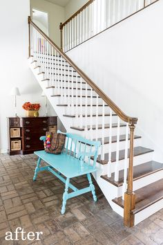 Home Improvement staircase DIY How to makeover a staircase and paint the balusters without losing your mind.