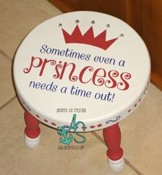 Princess Time Out Stool by AnchoredSixCreations on Etsy Kids Furniture, Painted Furniture, Baby Crafts, Crafts For Kids, Time Out Stool, Painted Stools, Vinyl Projects, Craft Fairs, Girl Room