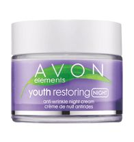 Avon Elements Youth Restoring Anti-Wrinkle Night Cream - Infused with nutrient-rich Amethyst Mineral Complex. Helps skin look younger and healthier as fine lines appear to fade. Hypoallergenic. Reduces the appearance of fine lines and wrinkles. Not suitable for sensitive skin. Regularly $11.99, buy Avon Elements online at http://eseagren.avonrepresentative.com