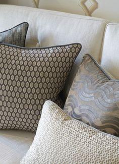 Bespoke cushions at the Helen Green Design showroom, Chelsea.