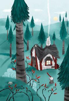 Hansel et Gretel Les Doodle, Doodle People, Art Et Illustration, Comme, Art Projects, Whimsical, Doodles, Places, Painting