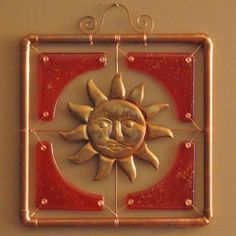 Copper Sun Fused Glass Wall Hanging