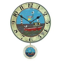 henry's boat pendulum wall clock by lytton and lily vintage home & garden | notonthehighstreet.com