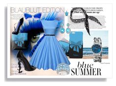 """BlueS"" by bonitasavana ❤ liked on Polyvore featuring WithChic, Yves Saint Laurent, Halogen, Carolina Herrera, Dita, Ice, Akribos XXIV, chic, blues and polka"