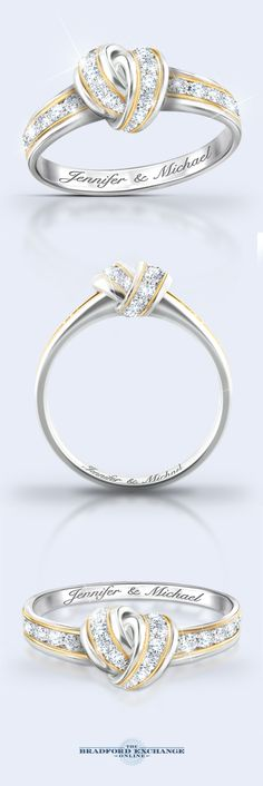 The love knot symbolizes your forever bond perfectly! That iconic symbol is blended seamlessly into the design of this personalized diamond ring. 12 sparkling diamonds create an unparalleled dazzle and your 2 names are engraved for free inside the band. Visit our site to preview your names and personalize this romantic ring today.
