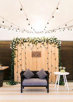 rustic indoor wedding photobooth decor