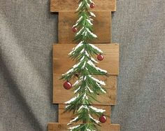 Christmas tree, red bulbs, Pine tree Reclaimed Wood Pallet Art, winter snow, christmas Hand painted, upcycled, Wall art, Distressed
