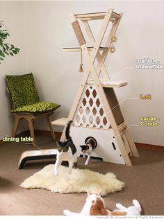 Cats Toys Ideas - DIY Inspiration: This cat tree looks pretty simple to make - basic x frame and some carpeted shelves. - Ideal toys for small cats Diy Cat Tree, Cat Towers, Ideal Toys, Cat Shelves, Cat Playground, Cat Room, Cat Condo, Pet Furniture, Furniture Design