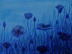 Blue Poppies ORIGINAL acrylic flowers £35.00