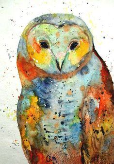 Barn Owl 2, Bird of Prey, Animal, Wild Life - Original Watercolor Painting by ebsq Artist Ricky Martin