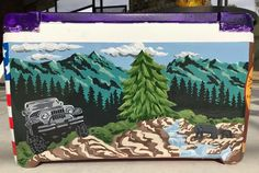 Jerk on mountains painting Fraternity Coolers, Frat Coolers, Nola Cooler, Ato Cooler, Sorority Canvas, Sorority Paddles, Sorority Recruitment, Formal Cooler Ideas, Cooler Connection