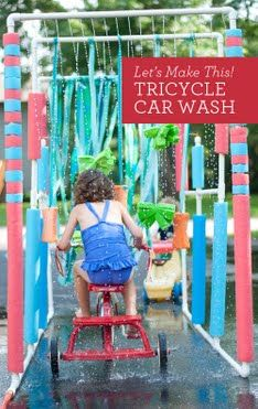 "DIY ""Tricycle Car Wash"" - or - New Water Fun idea :)  Made of PVC pipe. Easier than you think!   (1)  .       (2)   ."