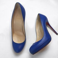 Christian Louboutin Filo 120mm Bleu Saphir Comes with original dust bag and box. Size 38. Soles have resoled for protections! Great condition! Heel height 3.25 Christian Louboutin Shoes Heels