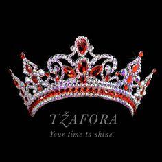 Custom project. Crystal AB and Light Siam crown. Ballroom dance jewelry, ballroom dance dancesport accessories. www.tzafora.com Copyright ©️️️️️️️ 2017 Tzafora. Head Pieces, Ballroom Dance, Costume Jewelry, Jewelry Design, Crown, Jewels, Costumes, Crystals, Luxury