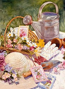 Watering Can Painting - Spring Garden by Judy Koenig