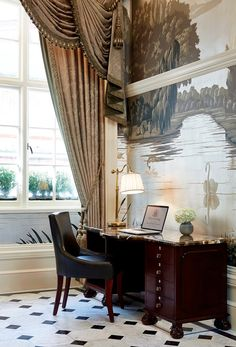 Stunning formal window treatments with swags and cascades in a grey damask. The Peak of Chic®: Fromental at The Goring