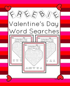 Here is a freebie for you. It is 3 Valentine's Day word searches. Each has 10 words. Each is shaped like a heart. Great for morning work or when students finish early the week of Valentine's Day.
