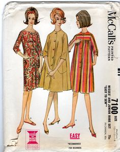 McCalls 7100 1960s Misses Housecoat Robe House Dress womens easy vintage sewing pattern by mbchills on Etsy