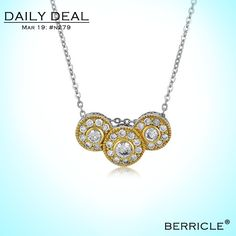 * Daily Deal * Today: $22.50 (Regular: $44.99)  50% OFF, March 19, 2014 only  STERLING SILVER TRIPLE ROUND CUBIC ZIRCONIA CZ PENDANT NECKLACE    #berricle #jewelry