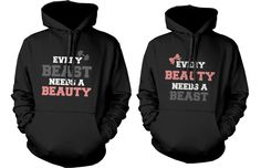 Matching Couple Hoodies - Beauty and Beast Need Each Other Couple Hoodie #365InLove