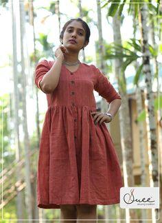 4c47a3f0 #suee #handoom #fabric #weave #handwoven #khadi #checks #red #reddress  #ladieswear #ladiesdress #gathers #kneelength #casuals #eveningwear  #photography ...