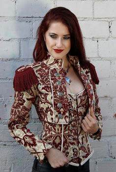 TOREADOR JACKET - BURGUNDY/IVORY TAPESTRY
