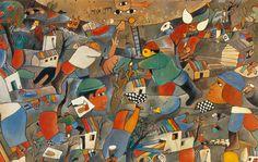 José Gurvich, 'Fragmento homenaje al Kibbu', 1966. Óleo sobre lienzo, 60 x 80 cm. Uruguay / arte, pintura, latin
