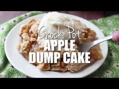 Crock Pot Apple Dump Cake is made with Apple Cinnamon Muffin Mix, canned apple pie filling and melted butter. Serve warm with vanilla ice cream! Crock Pot Desserts, Slow Cooker Desserts, Cook Desserts, Crockpot Pie, Crockpot Recipes, Apple Recipes, Cooker Recipes, Apple Dump Cakes, Dump Cake Recipes