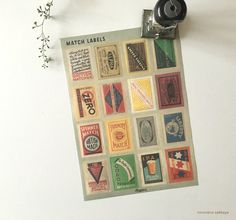 NEW Water-activated England Vintage Style Match Label - Graphic design