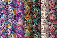7 Floral Paisley Patterns by Sunny_Lion on @creativemarket