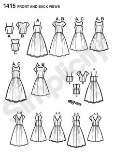 Simplicity 1415 Misses' Project Runway Special Occasion Dresses Line Drawing