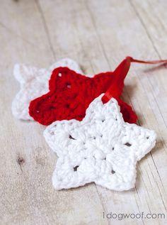 Crochet Star pattern for an ornament. www.1dogwoof.com