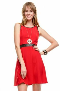 SLEEVELESS DRESS WITH CONTRAST BINDING AND LEATHER WAIST BAND If you love dresses salediem has the look for Fall #salediem #fall#fashion. Shipping is FREE!
