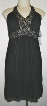 NW Woman Plus Size Black Beaded Halter Dress w/Pltd Chiffon