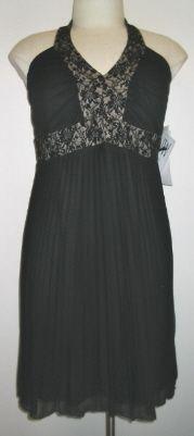 NW Woman Plus Size Black Beaded Halter Dress w/Pltd Chiffon