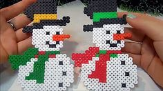 Tutorial! Pupazzo Di Neve Con PYSSLA ★Snowman (Perler Beads)★