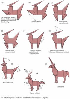 how to fold an origami unicorn! Hogere vouwkunst als je het mij vraagt.Origami Unicorn pattern or art for books shelf styleHow to fold an origami unicorn! I can't wait to make tons of these!origami unicorn--R will flip! Origami Ball, Instruções Origami, Origami Yoda, Origami Star Box, Origami And Kirigami, Origami Fish, Useful Origami, Paper Crafts Origami, Origami Stars