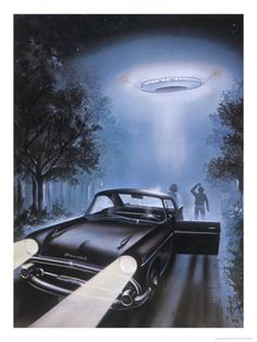 New Hampshire, Betty and Barney Hill Driving at Night See a UFO Giclee Print