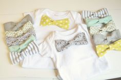 tiny bow ties for tiny gentlemen – DIY tutorial on how to make your own bow ties with snaps and a onsie with the other side of the snaps.  Make multiple bow ties and you have an interchangeable set to go with your onsie.