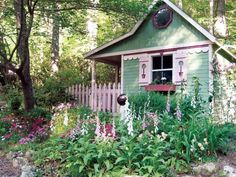 With its colorful exterior and luscious garden, this she-shed is a vibrant expression of the owner's personality.