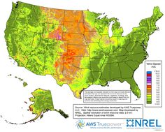 High-Res map of average wind speeds nationwide for selecting best location for residential wind turbine power harnessing.