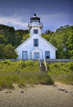 Mission Point Lighthouse in Grand Traverse Bay, Michigan.