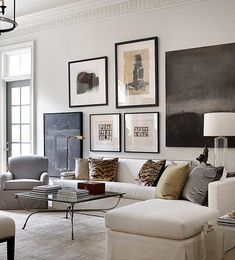 Home Interior Farmhouse living room inspiration - neutral color palette living room with a stunning gallery wall.Home Interior Farmhouse living room inspiration - neutral color palette living room with a stunning gallery wall Living Room White, White Rooms, Home Living Room, Living Room Designs, Living Room Decor, Living Spaces, Artwork For Living Room, Room Art, White Walls