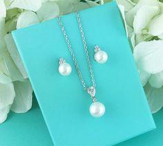 Bridesmaids Jewelry Set CZ Pearl Wedding Necklace Set bridal