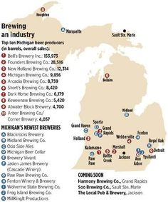A map of some Michigan's breweries.