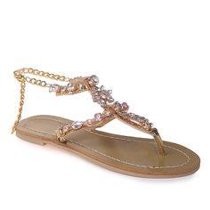 1939f449ebc09 Gold Bohemia Rhinestone Summer Flat Heel Women Sandals