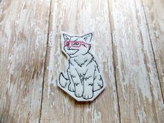 Cool Cat with Pink Glasses Felt Patch Applique by CocoaDragonfly