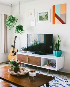 colourful boho style tv unit