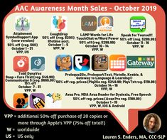 October 2019 AAC AWARENESS APP SALES & DATES!! #AACaware19 The wait is over! Here is the much anticipated graphic with the apps that will be on sale for AAC Awareness Month in October 2019. Pay close attention to dates as they vary from app to app and be sure to mark your calendars! Speech Therapy, Dates, Homeschool, October, Knowledge, Classroom, App, Education, Feelings