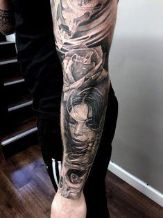 Flower Girl Sleeve Tattoo - http://gotattooideas.com/flower-girl-sleeve-tattoo/